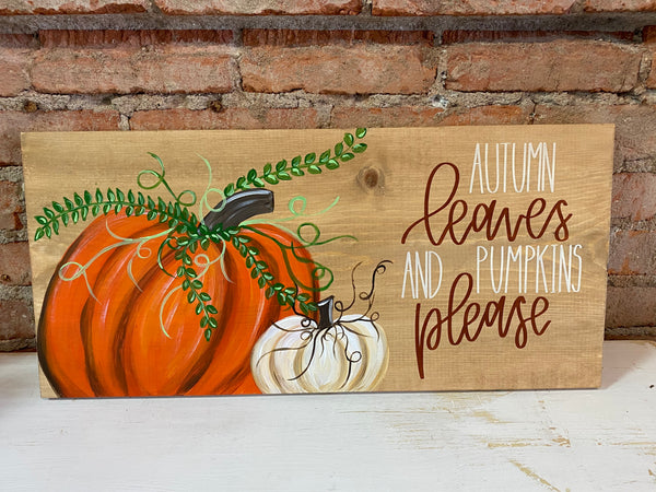 ZOOM Class! Pumpkins on Wood (September 4, 2020 6:30-8:30pm)