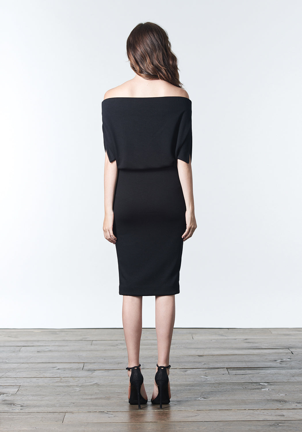 "Fall, Autumn, Winter cocktail or work knit ""little black dress"". Made of stretch tencel."
