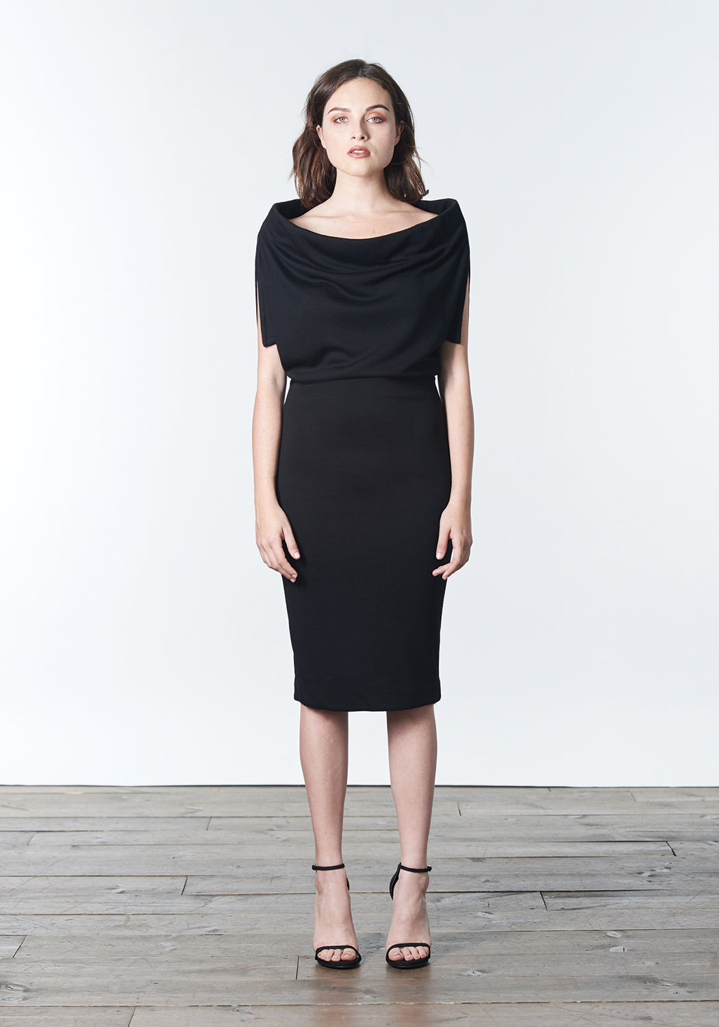 "Fall, Autumn, Winter cocktail or work fitted knit dress. Made of stretch tencel. The perfect ""little black dress"""