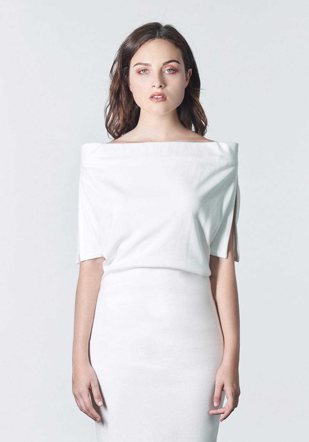"Fall, Autumn, Winter cocktail or work fitted knit dress. Made of stretch tencel. The perfect ""little white dress"""