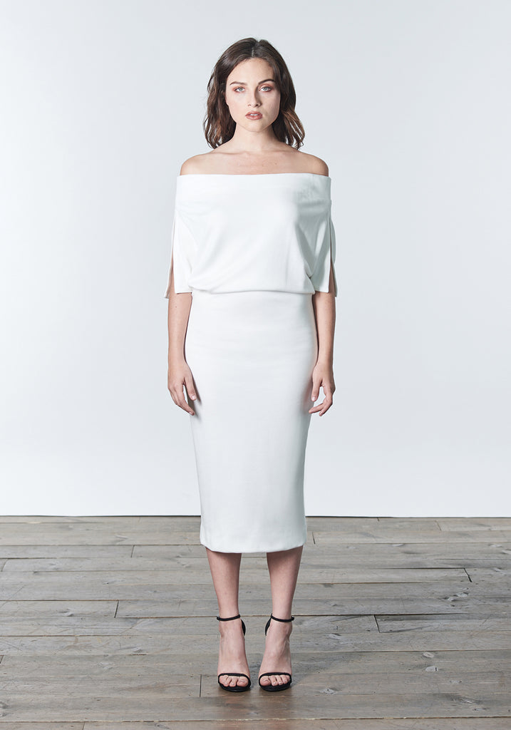 "Fall, Autumn, Winter cocktail or work knit ""little white dress"". Made of stretch tencel."