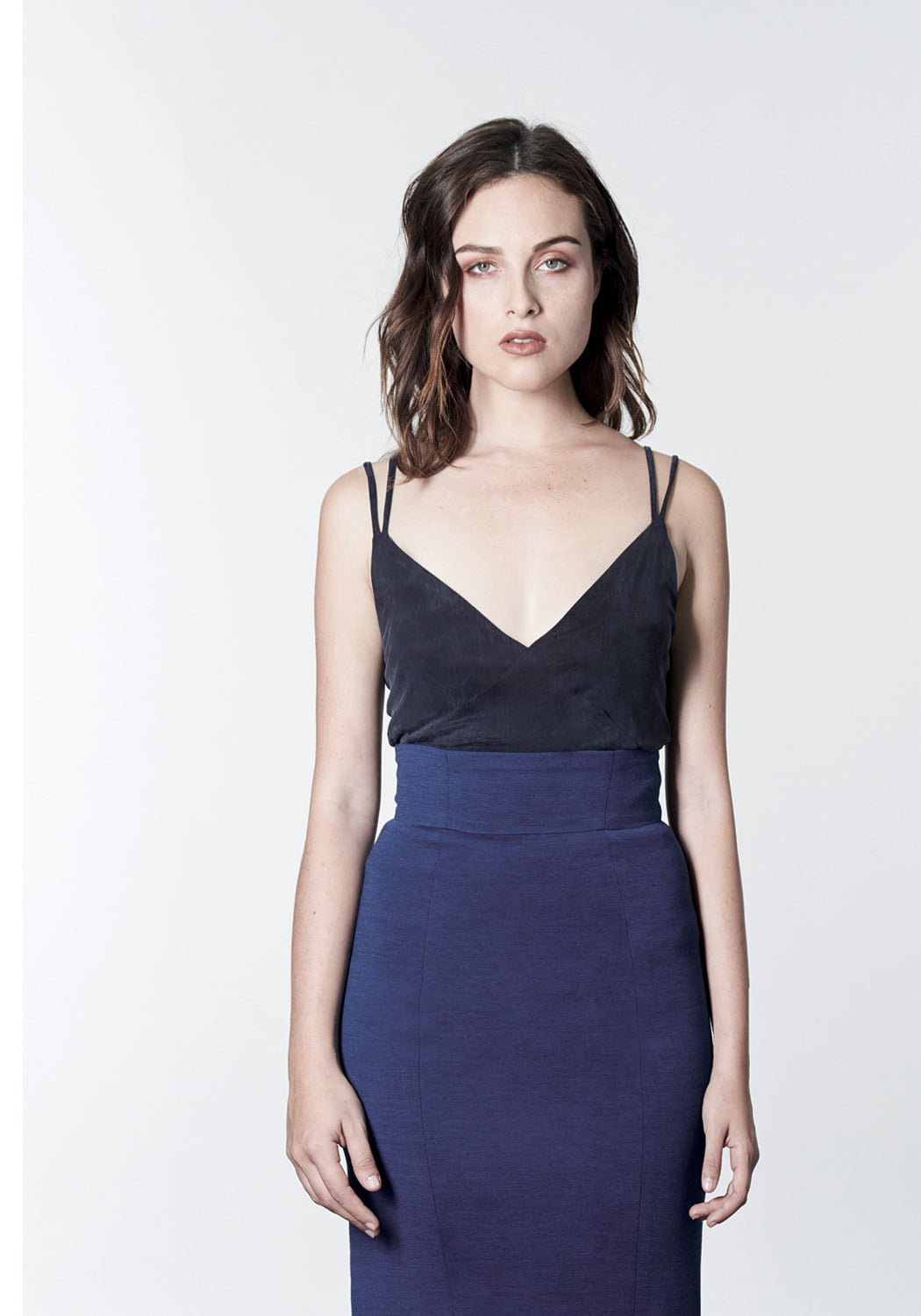 Navy blue stretch cupro camisole top.