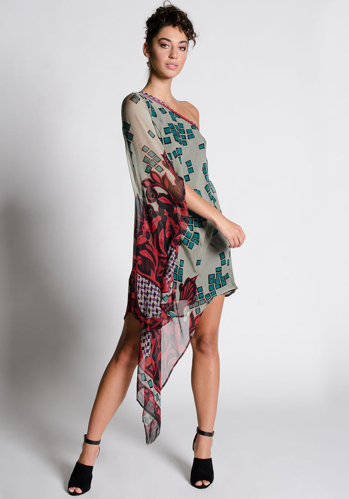 CATELYN One Shoulder Silk Dress
