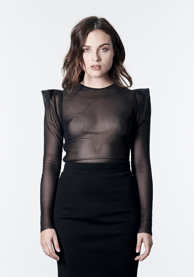 DYLAN Black Mesh Top