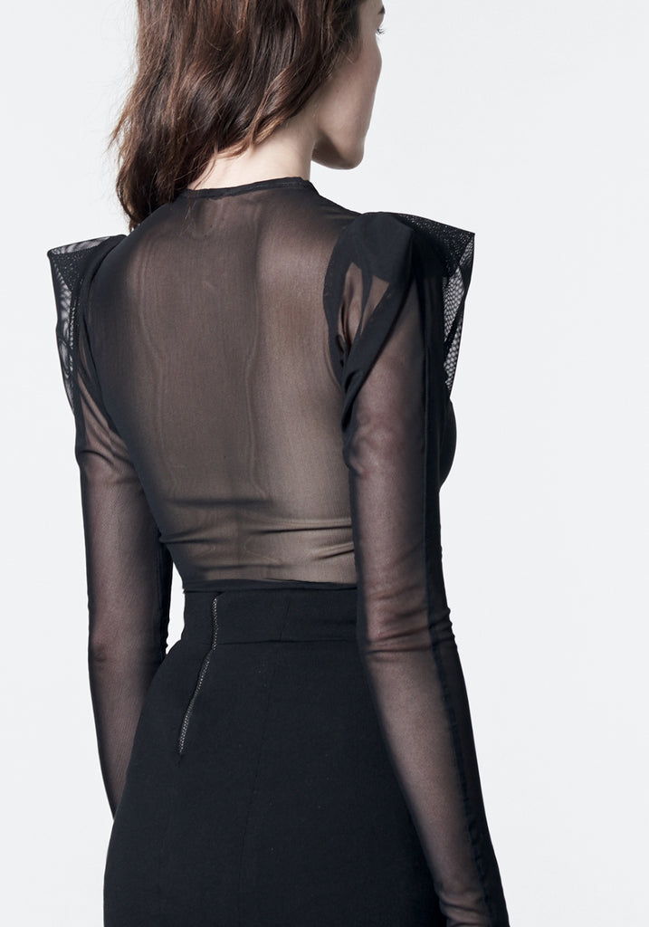 Black mesh statement top with pleated shoulder detail.