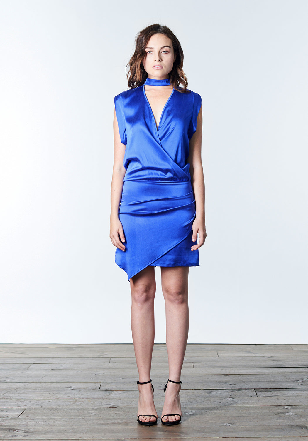 Cobalt blue short cocktail dress with choker.