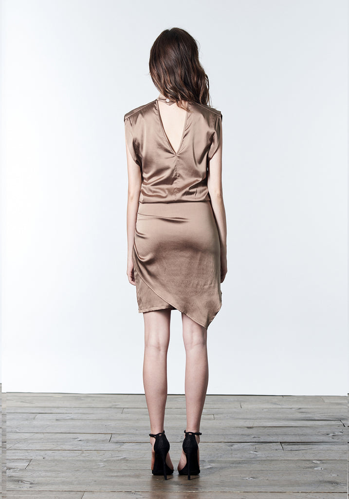 Bronze brown short cocktail dress with choker.