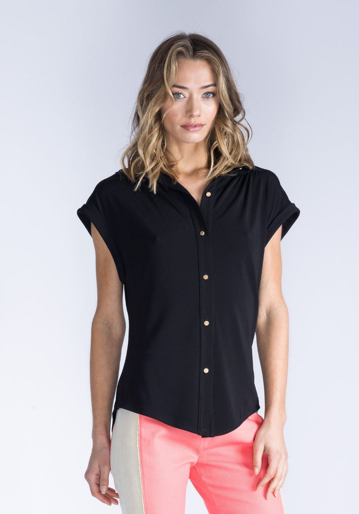 KIERA Black Button-Down Top