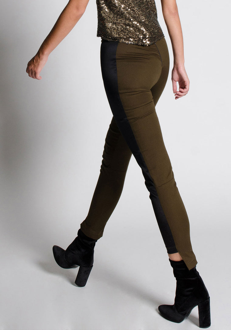 AUDREY Olive Cotton Skinny Pant