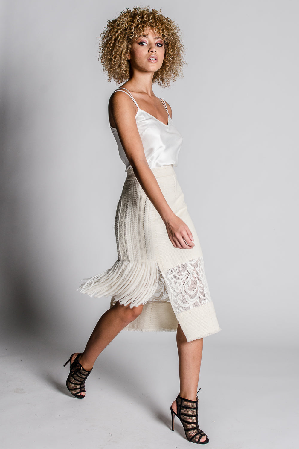 JAMIE Fringe Straight Skirt