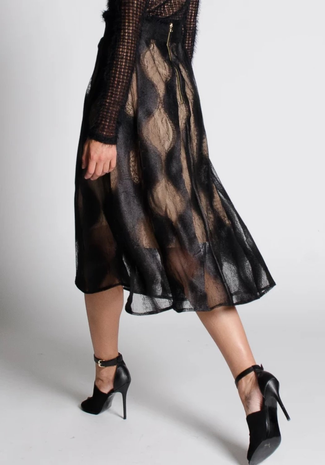 MARA Black Lace Midi Skirt
