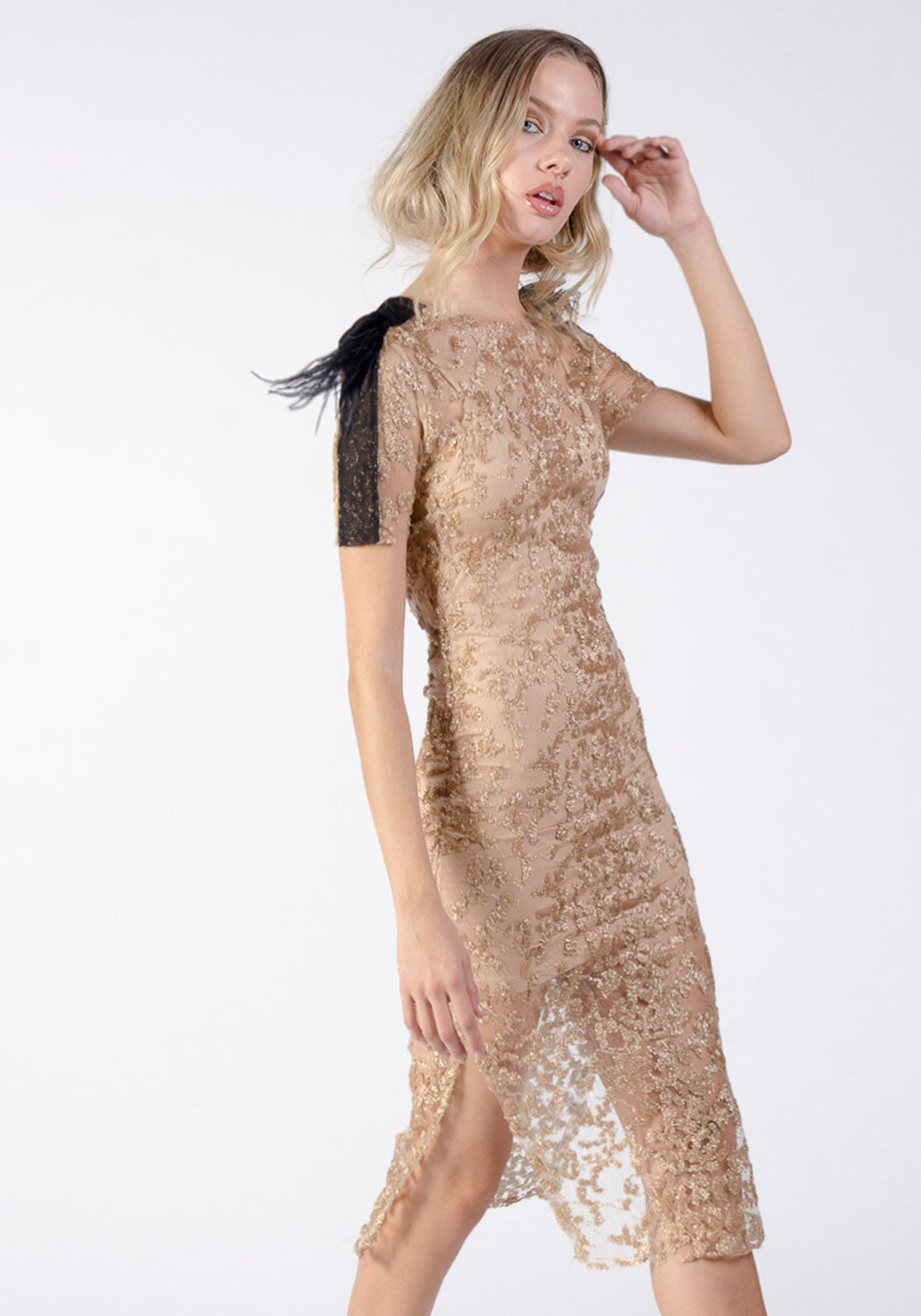 BACALL Lace Nude Sequin Cocktail Dress