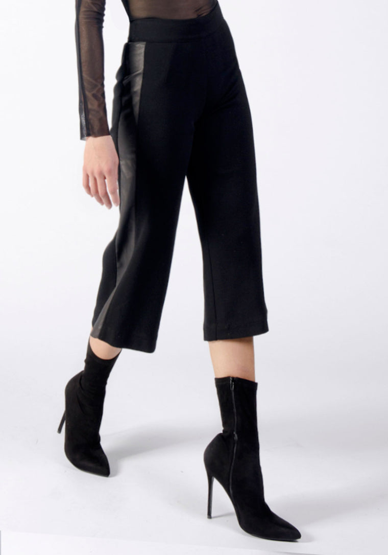 BARDOT Knit and Leather Cropped Pant