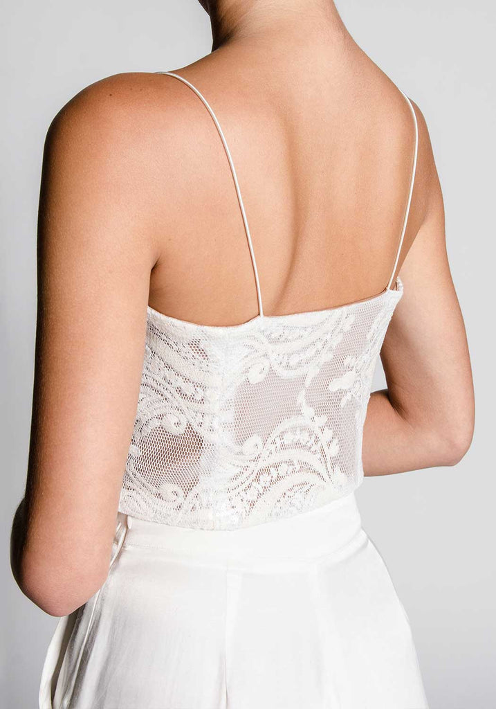 COLETTE White Cropped Bustier Top
