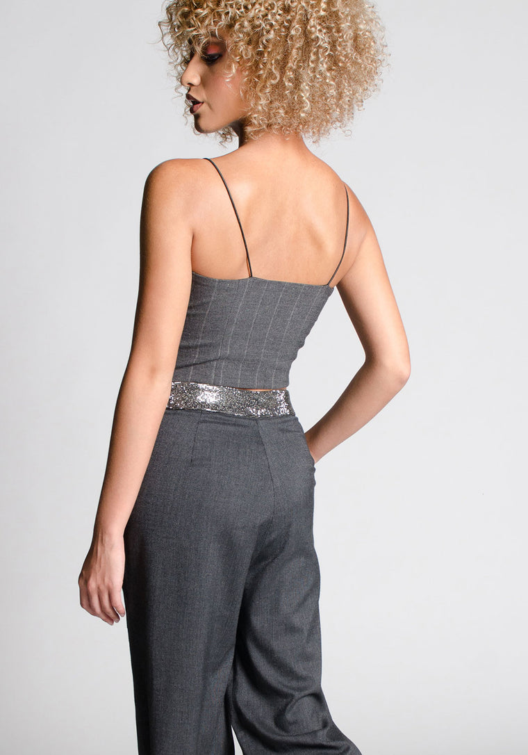 COLETTE Cropped Wool Bustier Top