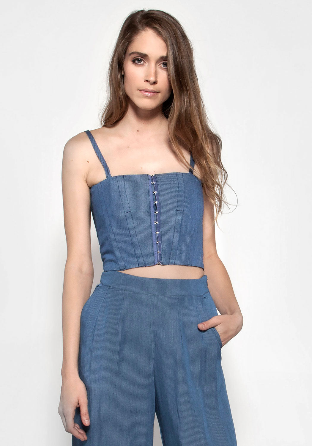 MISSANDEI Chambray Bustier Top