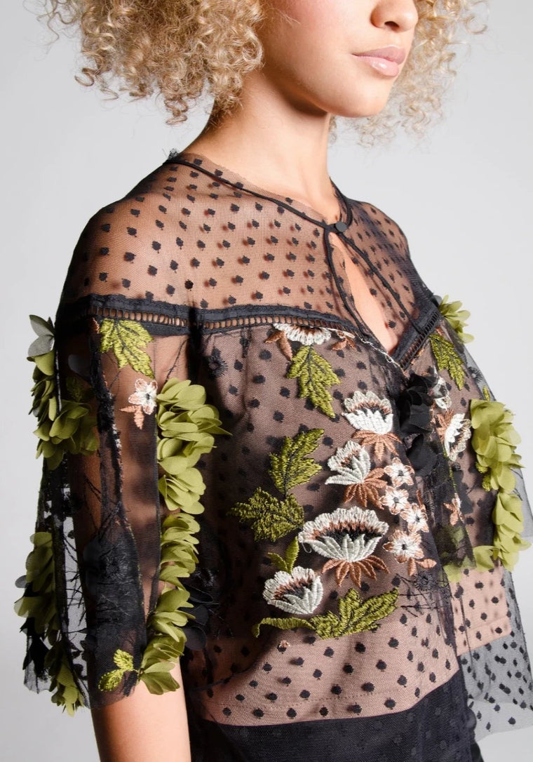 ROBBIE Semi-Sheer Floral Cape Top