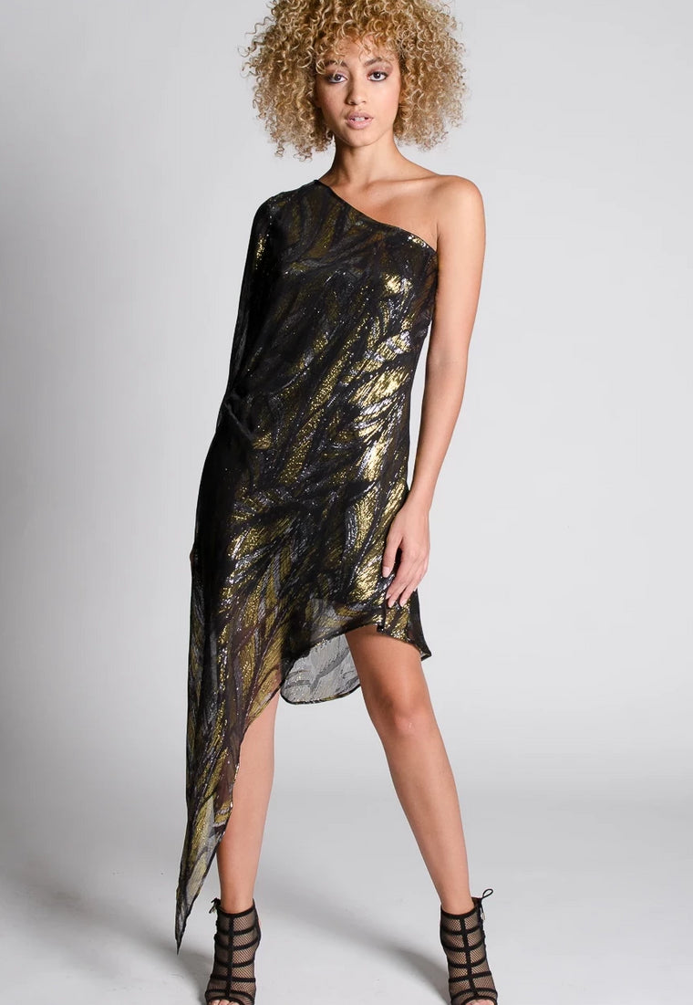 CATELYN Silk Lurex One Shoulder Dress