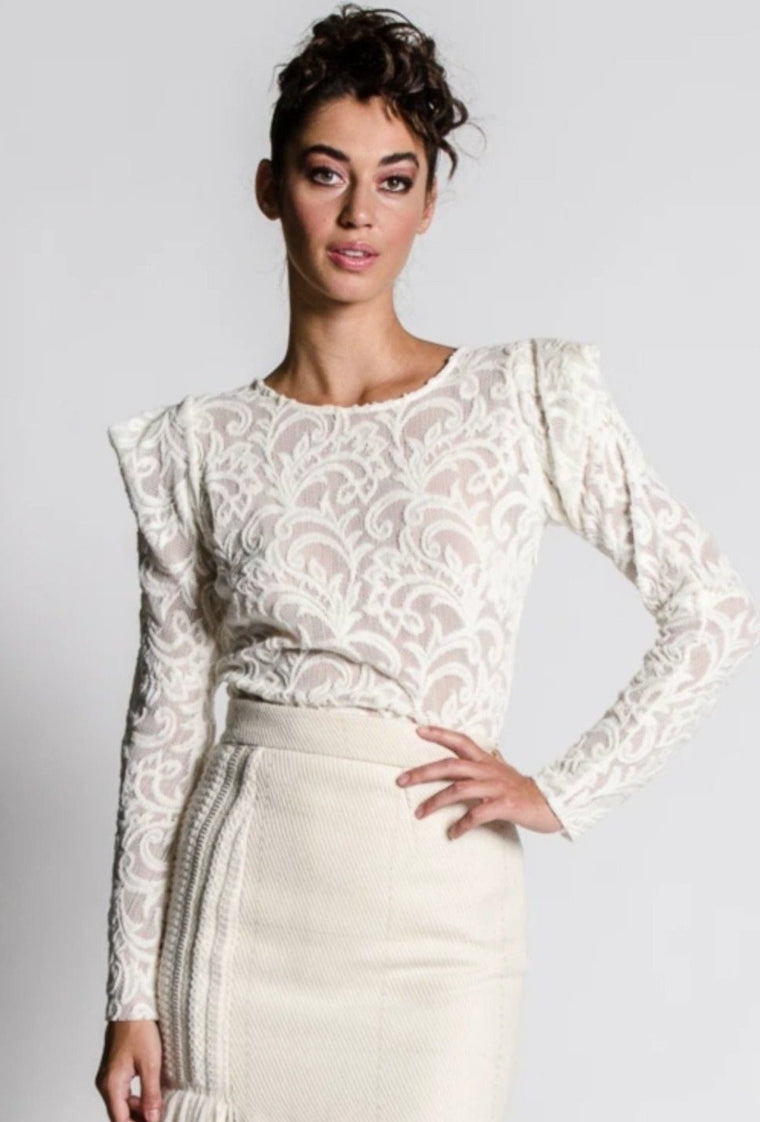 DANNI Cream Lace Top