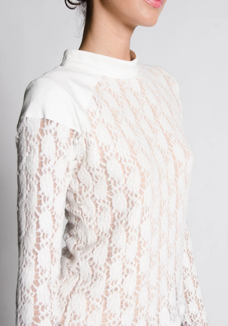 SCARLETTE Cream Sweater Lace Knit Top