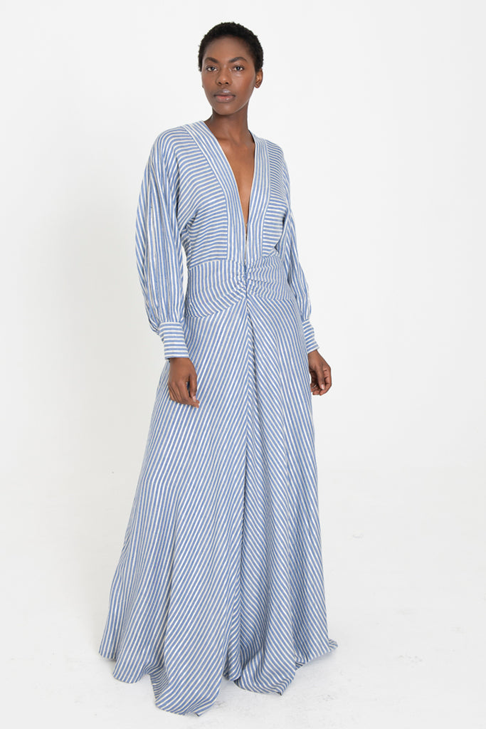 SANJI V-neck long cotton sundress