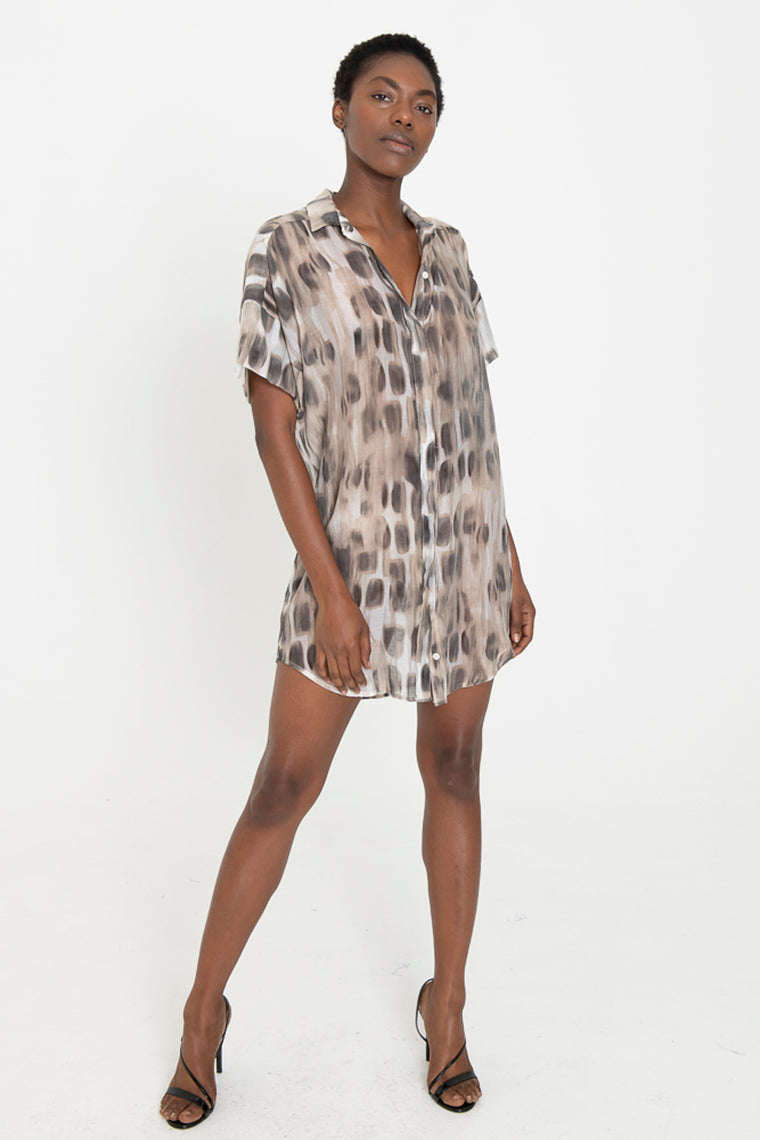 LUCA cheetah button down shirt dress
