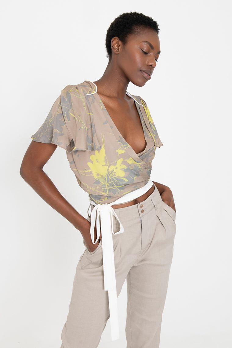 ELAINE Silk Wrap Top
