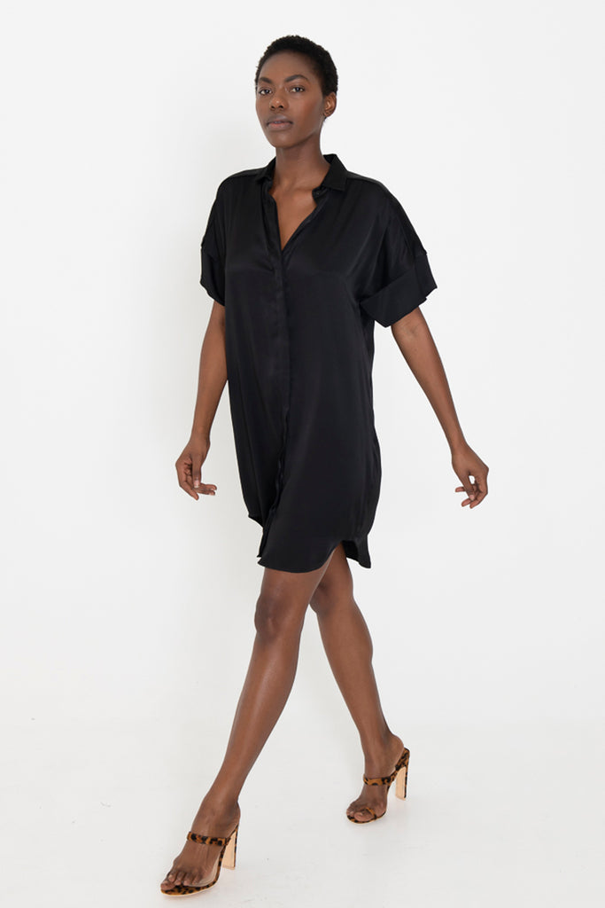 "LUCA ""silky"" black button down shirt dress"