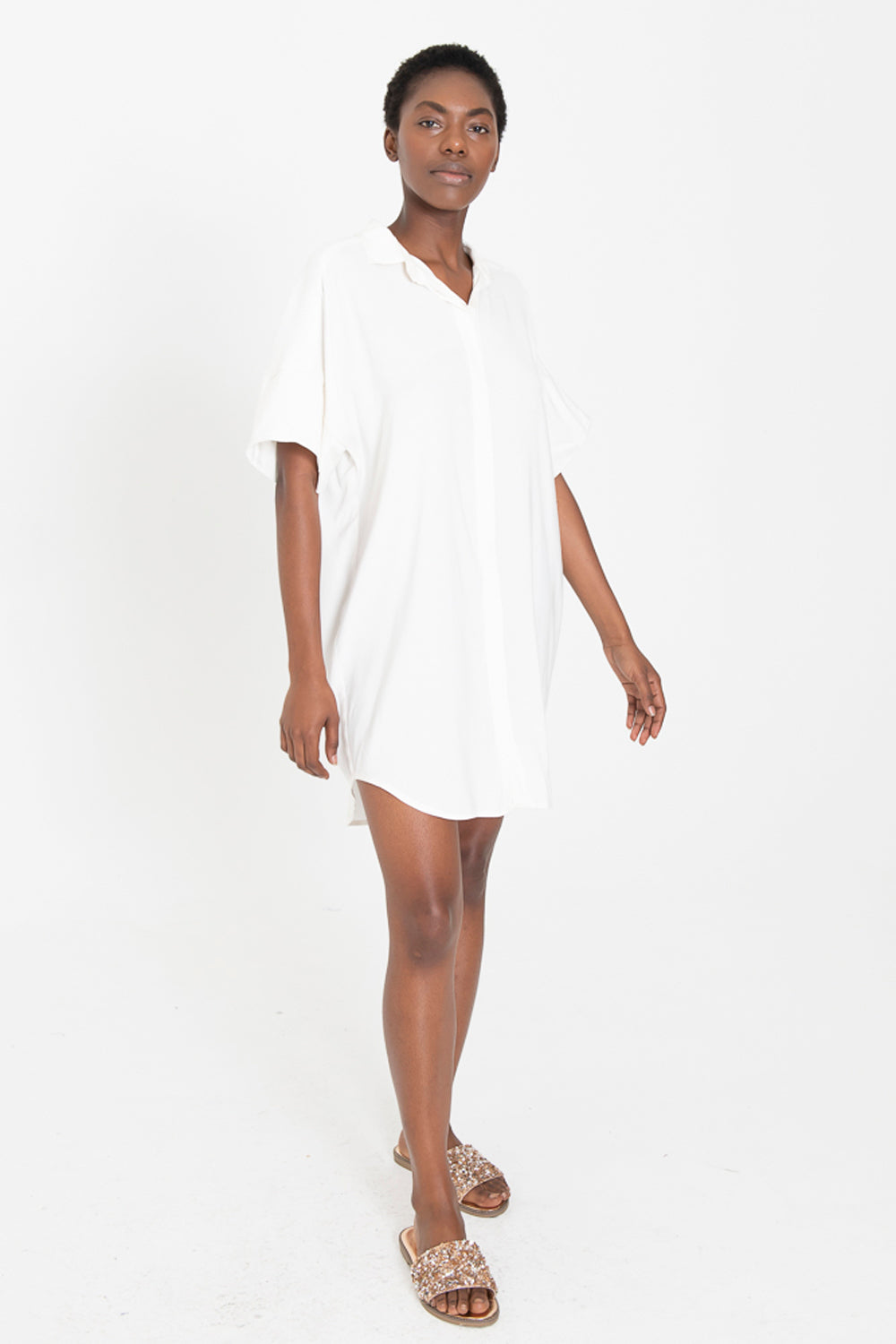 LUCA coconut button down shirt dress