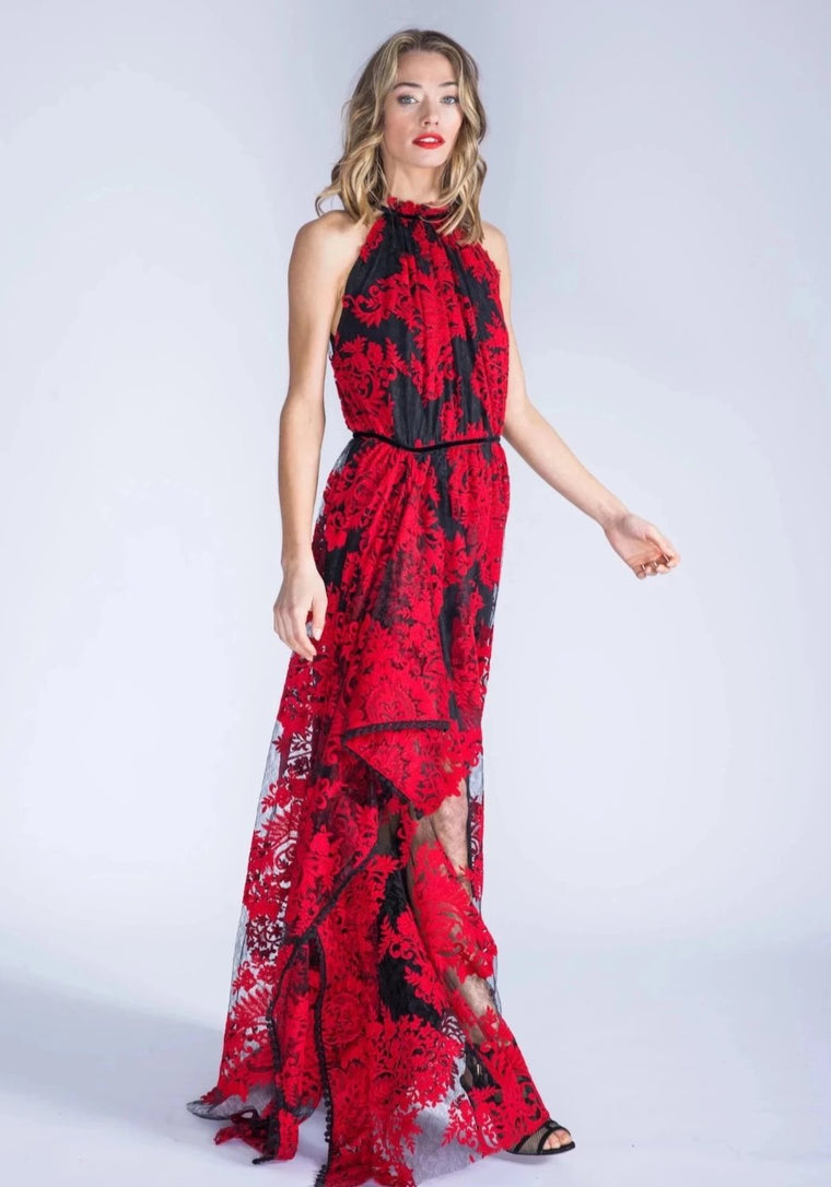 MARCELLA red halter lace gown