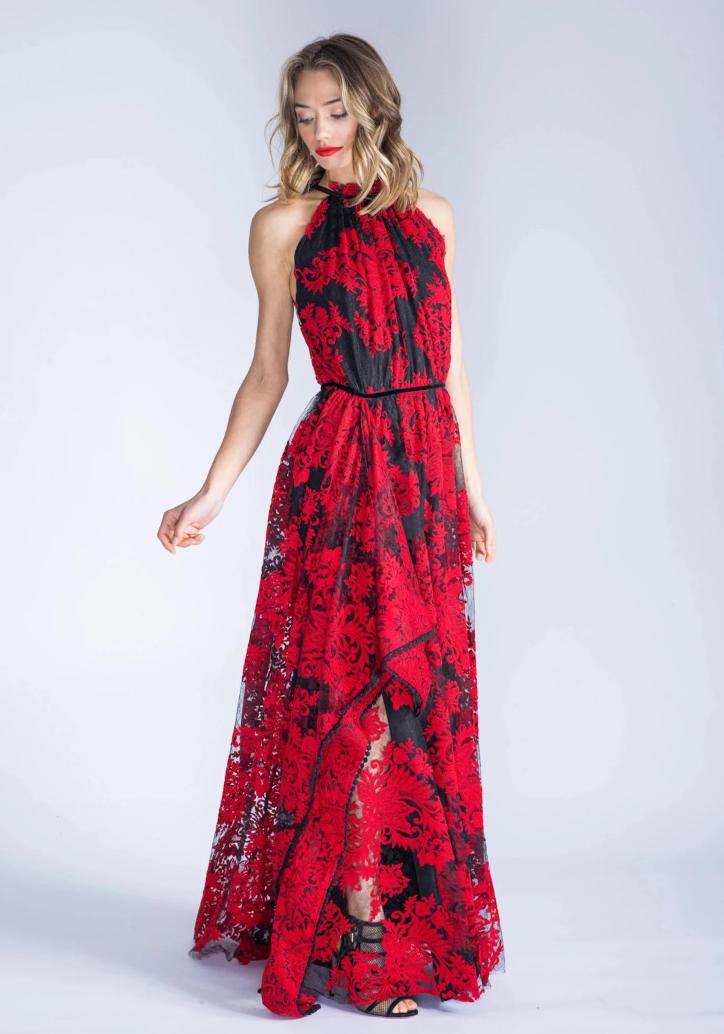 MARCELLA Red Embroidered Lace Halter Dress