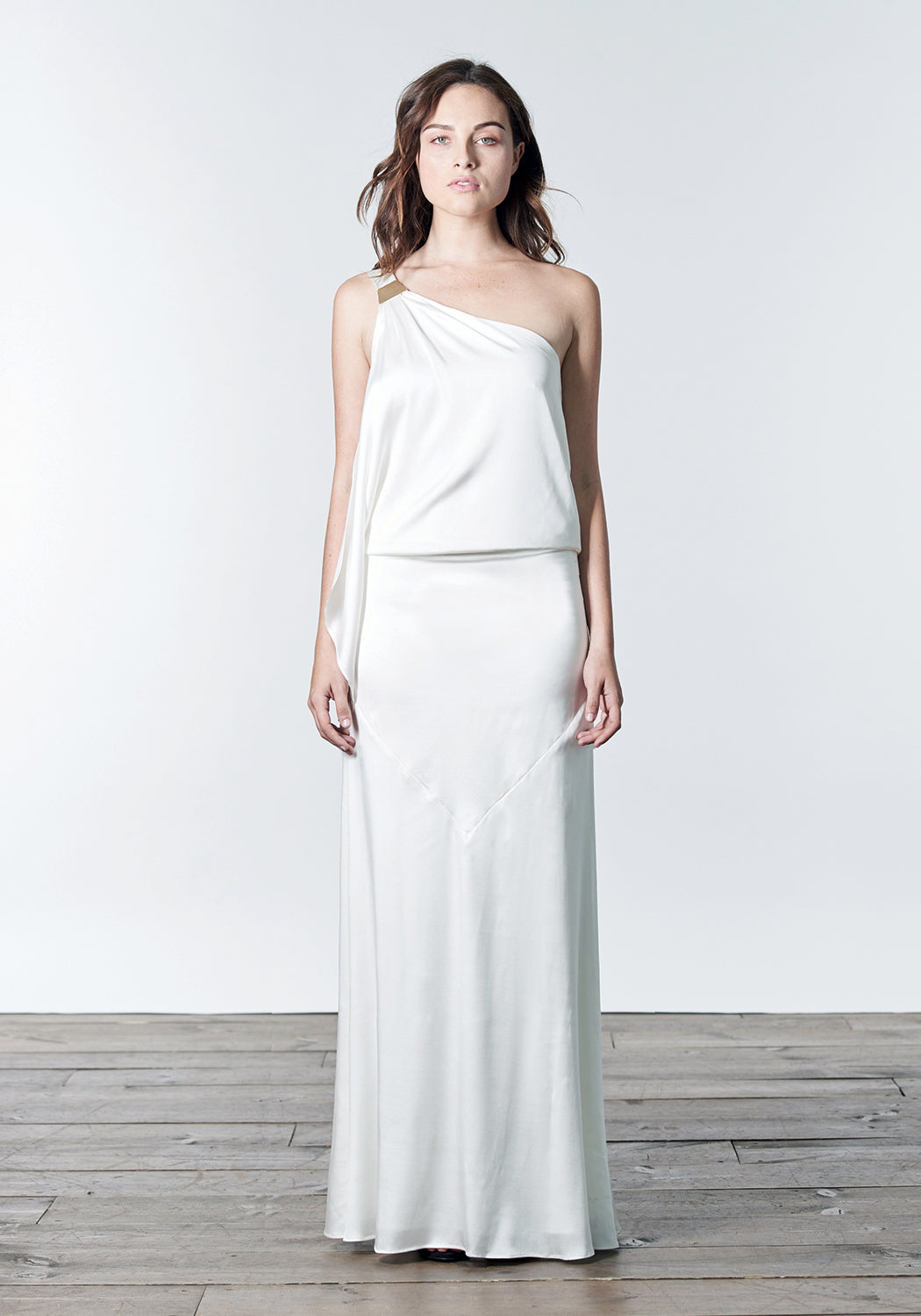 White, floor length, one-shoulder, stretch silk satin grecian bridesmaid dress gown.