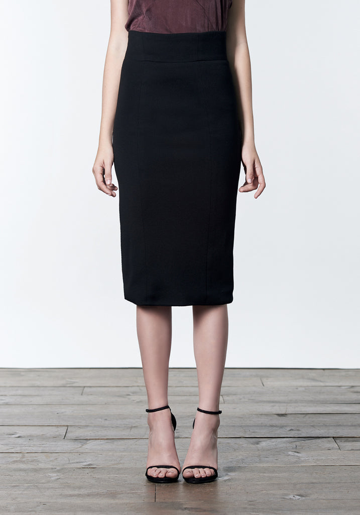 Black wool tencel pencil skirt with back zipper details.