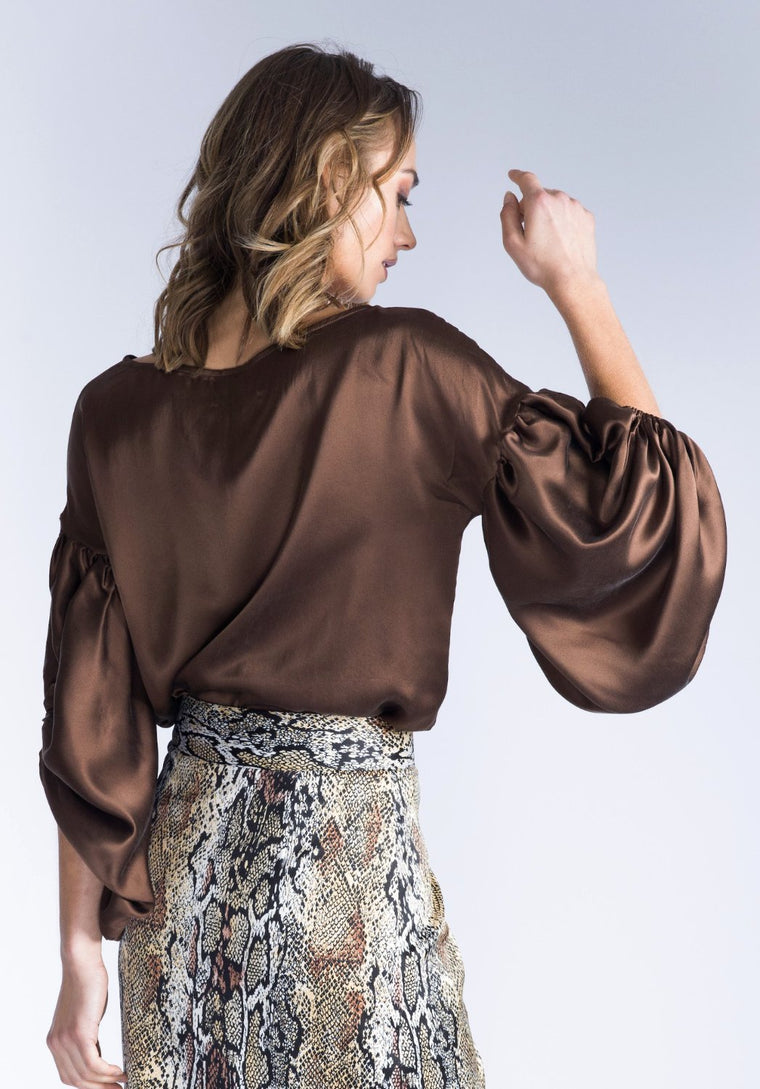 OLENNA Chocolate Silk Top