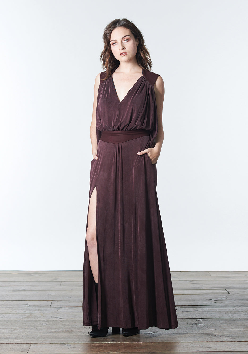 winter maxi dress in deep mauve, purple, plum, burgundy color that can be dressed up and worn as a gown to black tie or other evening event or dressed down for daytime looks.