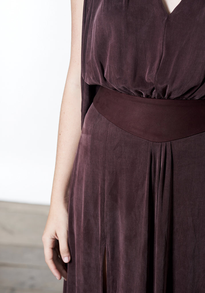 winter maxi dress in deep mauve purple plum burgundy color that can be dressed up and worn as a gown to black tie or other evening event or dressed down for daytime looks.