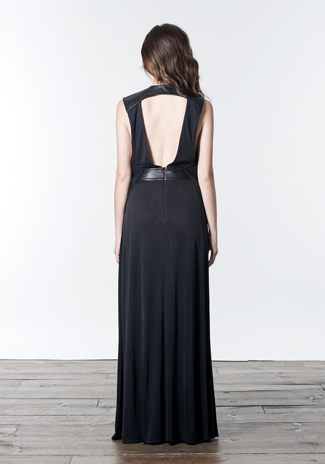 OLIVIA Black knit and leather Long Maxi Dress
