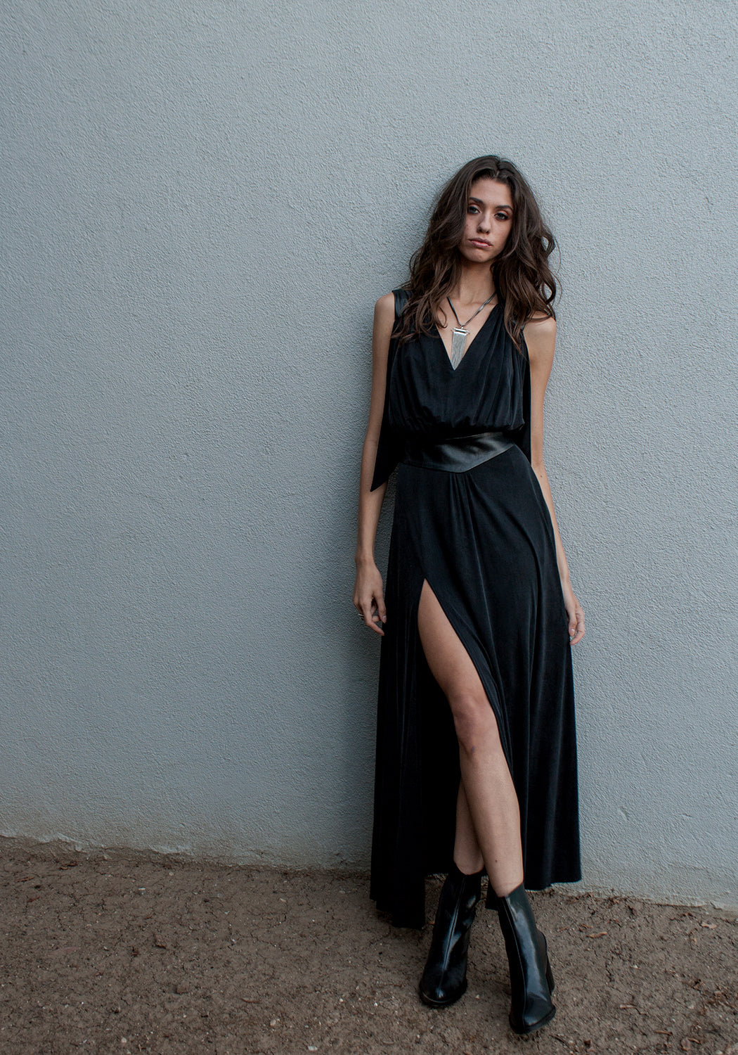 winter maxi dress in soft black color that can be dressed up and worn as a gown to black tie or other evening event or dressed down for daytime looks.