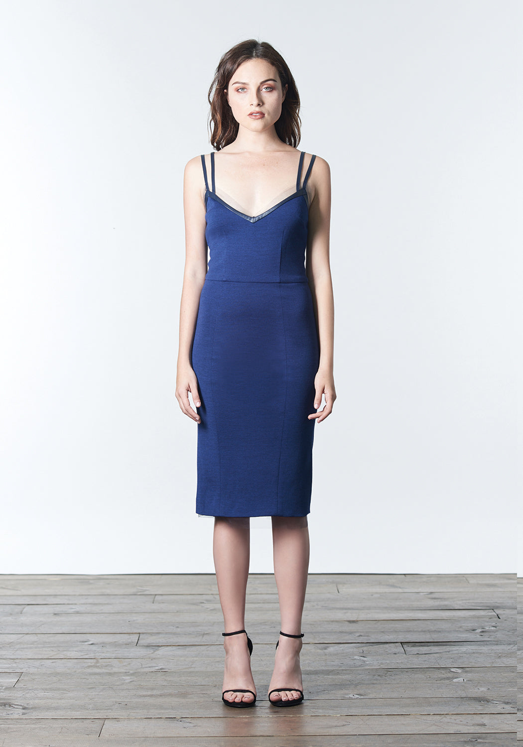 Fall, Autumn, Winter cocktail dress made of wool and rayon with leather and silk mesh trim, in blue azure color.