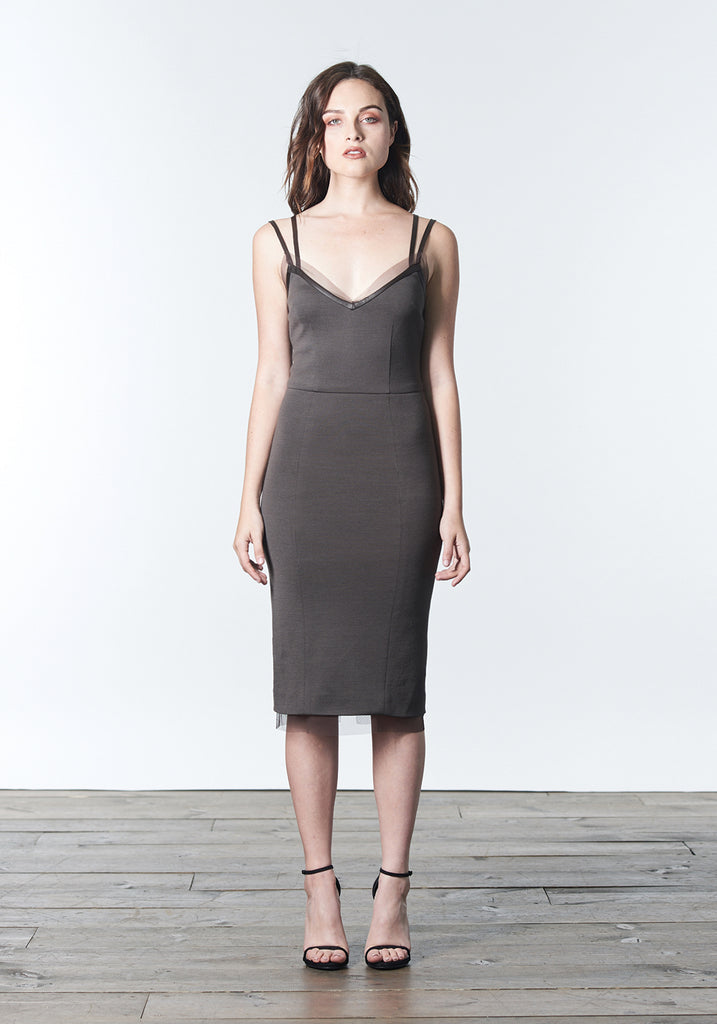 Fall, Autumn, Winter cocktail dress made of wool and rayon with leather and silk mesh trim in neutral brown bark color.