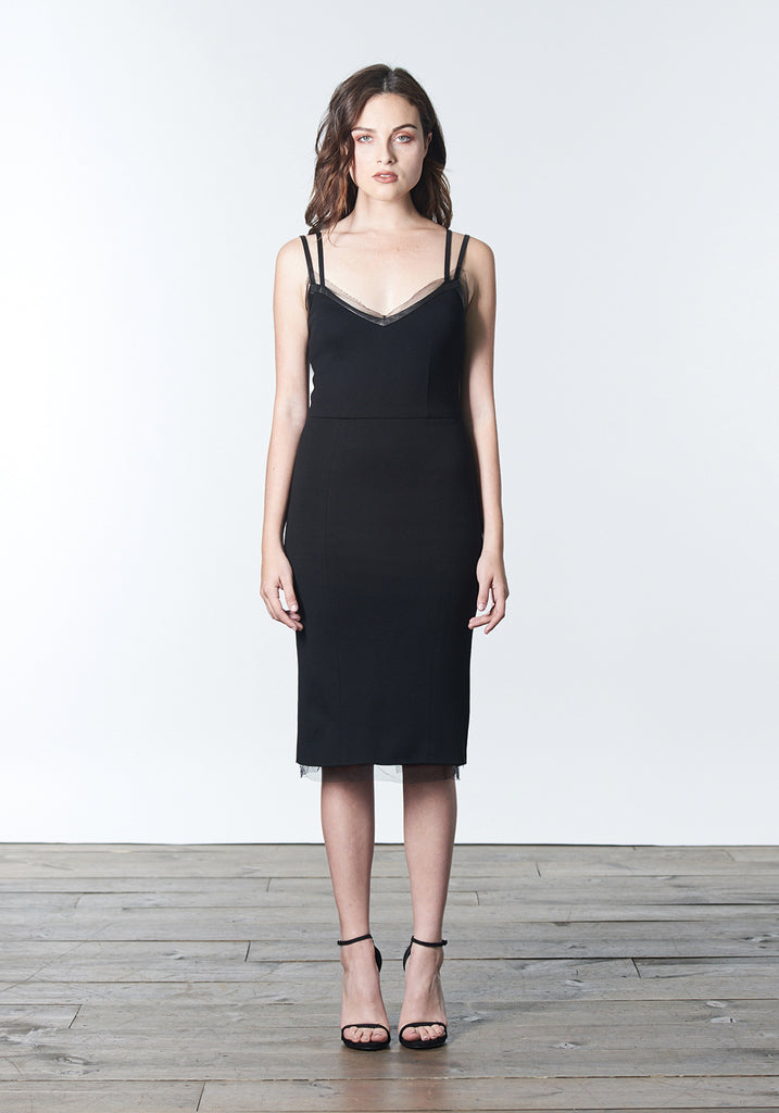 "Fall, Autumn, Winter cocktail ""little black dress"" made of wool tencel with leather and silk mesh trim."