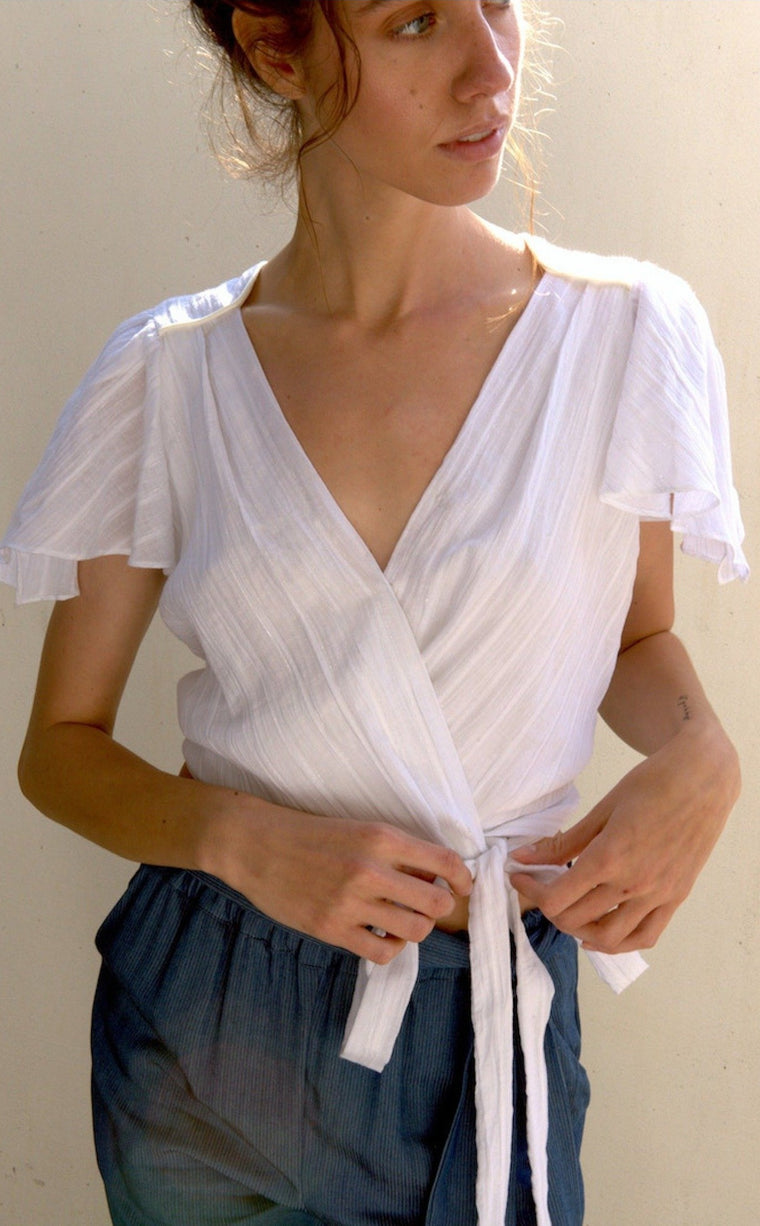 ELAINE Cotton Wrap Top