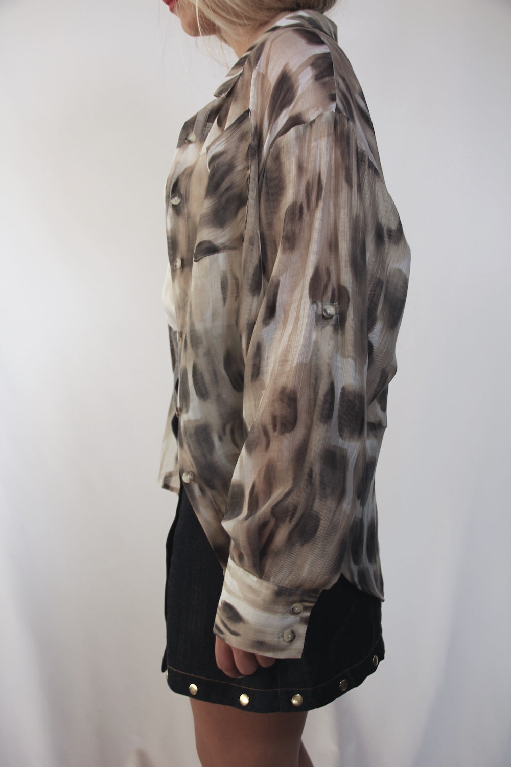 CELINE boyfriend button-down shirt/ Monet Cheetah