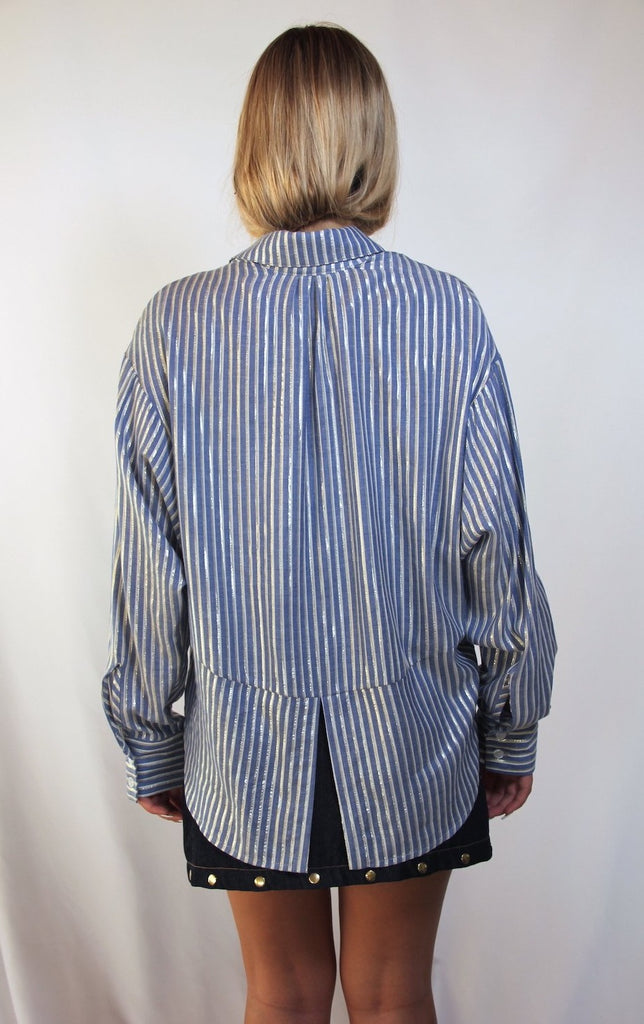 CELINE Boyfriend Button-down Top/ Striped