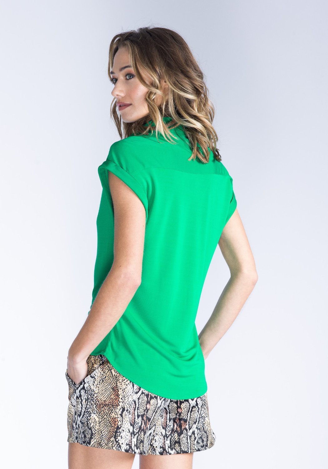 KIERA green button down top