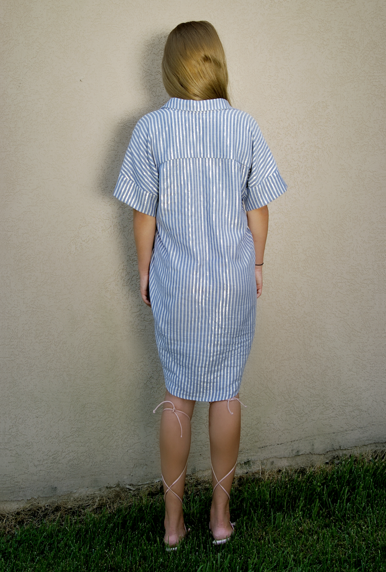 LUCA cotton  button down shirt dress