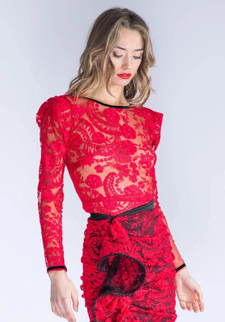 Dylan Red Lace Top