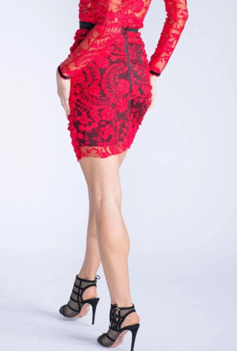 GIZELLE Red Ruffle Lace Skirt