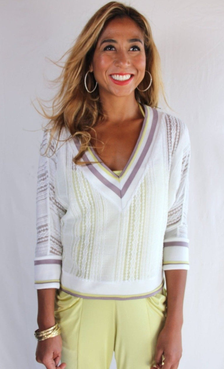 RENNI Collegiate Sweater in White Lily