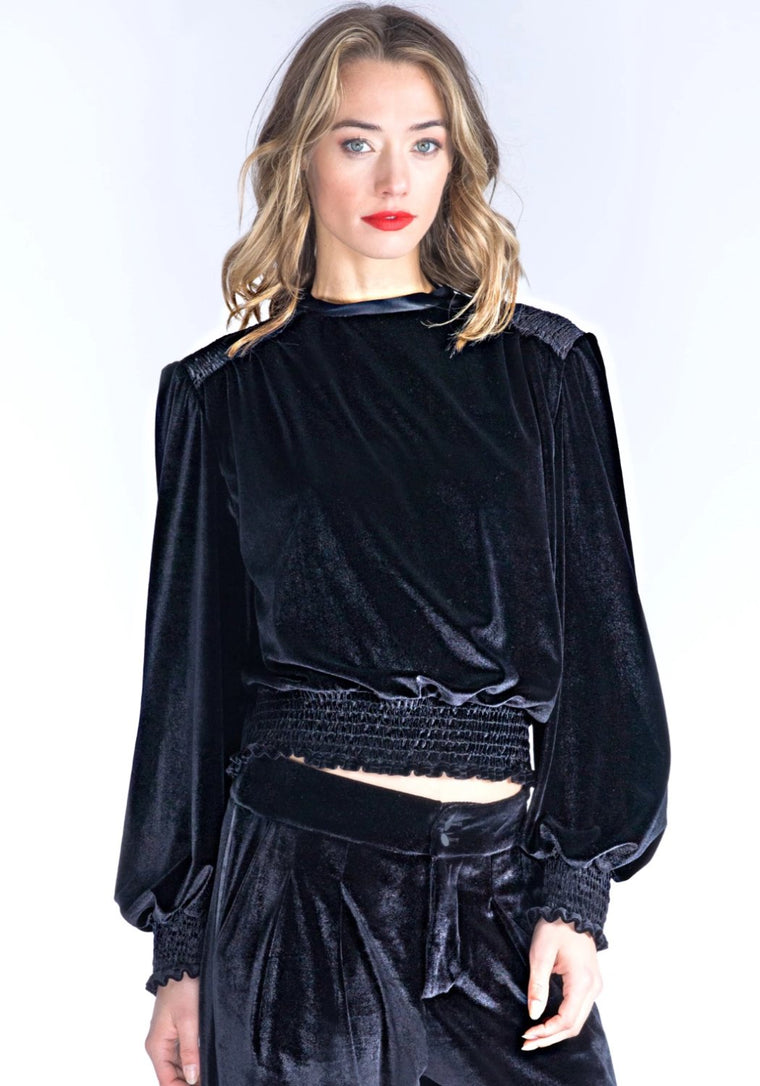 Mary Jane Black Velvet Top